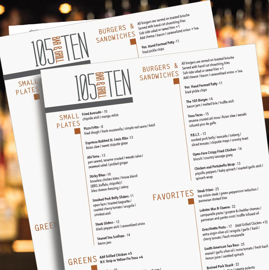105TEN Bar & Grill Menu